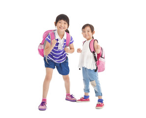 happy little girls with backpack