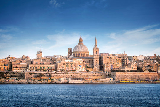Valletta skyline with the St. Pauls Cathedral