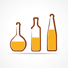 Abstract yellow wine bottles-vector illustration
