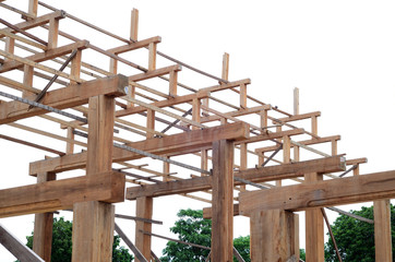 Teak timber roof structure for civil engineering in white backgr