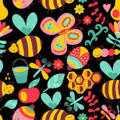 Vector seamless floral pattern. Summer composition with honeycom