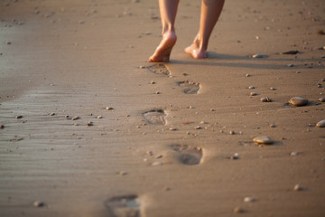 Footprints in sand background