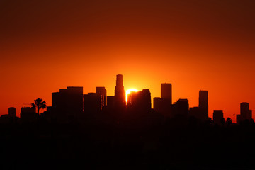 Klistermärke - Los Angeles city skyline, sunrise