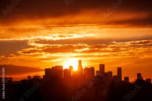 Fotobehang Los Angeles city skyline, sunrise