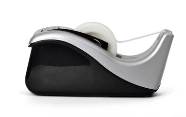 Side view of sticky tape dispenser on white background