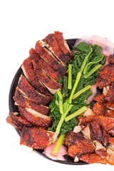 top view roasted duck with vagatables
