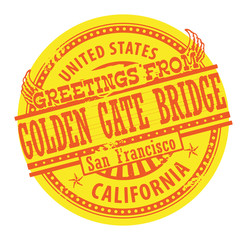 Stamp with text Greetings from Golden Gate Bridge, vector