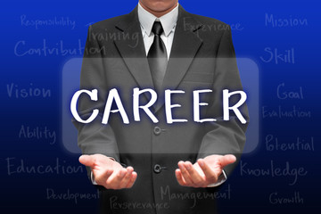 Businessman selecting CAREER option on his concept