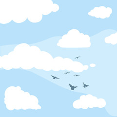 vector daytime sky, clouds, silhouettes of birds