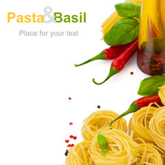 pasta with basil chili pepper and spicy olive oil on white backg
