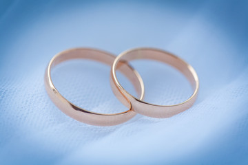 beautiful golden rings on the blue wedding dress