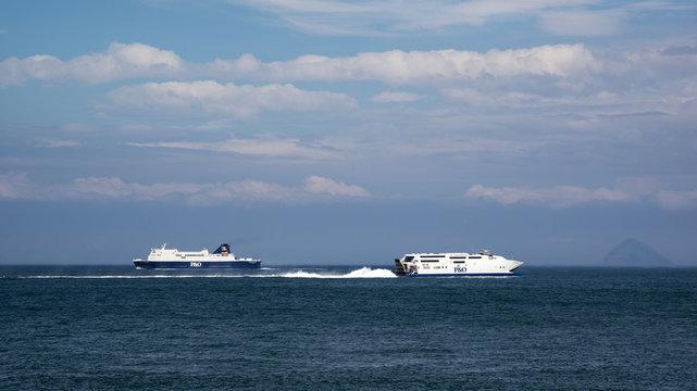 Ferries on the Irish Sea
