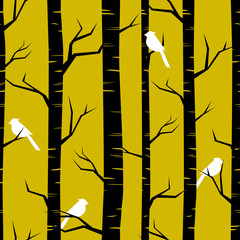 Door stickers Birds in the forest Abstract Forest Background