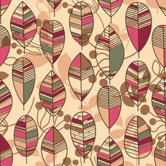Autumn leaves seamless pattern retro style vector