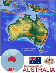 Australia Oceania national emblem map symbol location