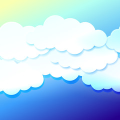 Beautiful blue sky with paper clouds