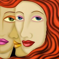 Poster de jardin Abstrait antique tre visi di donna
