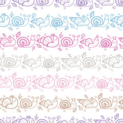Cute smiling snails stripes seamless pattern background with