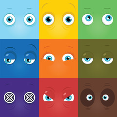 Set of funny cartoon monster eyes