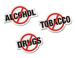 anti alcohol, anti tobacco, anti drugs sticker signs