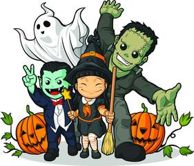 Witch, Vampire, Frankenstein, Ghost & Pumpkin Greeting Halloween
