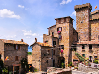 Fototapete - Towers of the medieval neighborhood of Bolsena, Italy