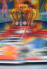 Spinning ride in an amusement park
