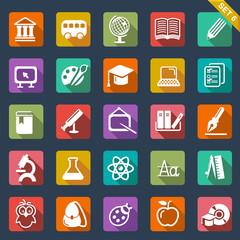 Education icon set- flat design