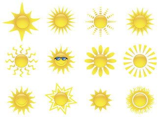 Sun icons set. Vector