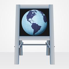 america world presentation on easel board vector