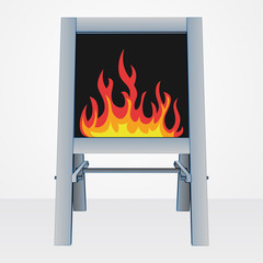 fire flames on easel board vector illustration