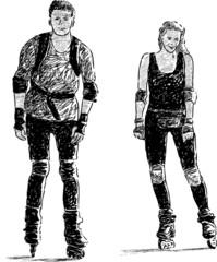 pair on a roller skates