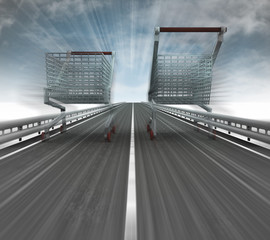motorway with two fast blurred shopping carts