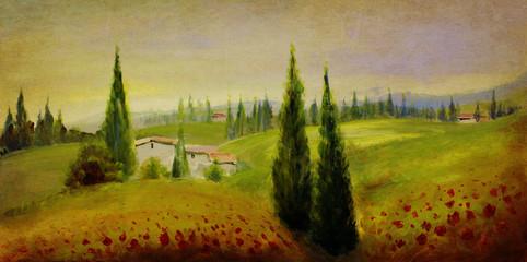 Fotoväggar - sommer landschaft malerei alt