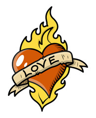 Retro Love Tattoo with Heart, Flame and Vintage Banner