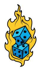 Dice in Fire - Casino Lover Tattoo Concept - Vector Illustration