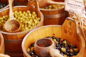 Variety of olives being sold at a market