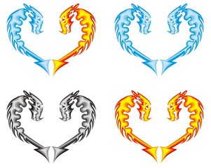 Dragon heart. Fire, water, ashes