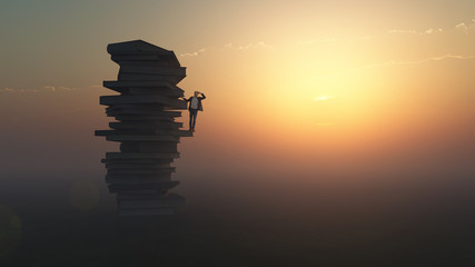 businessman standing on a stack of books