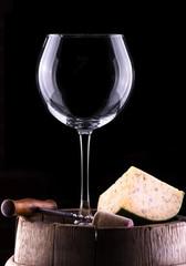empty wine glass in black background