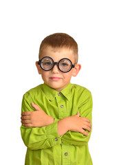 Little boy in funny glasses