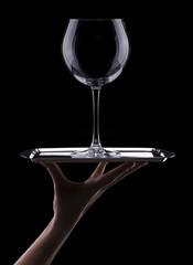 empty wine glass in black background