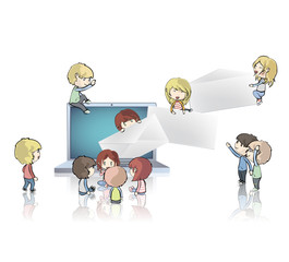 Kids around laptop sending envelopes. Vector design