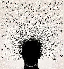 Music notes out from Head design