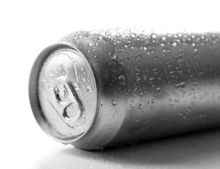 Metal can of beer, isolated on white
