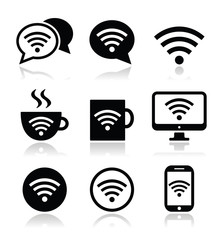 Wifi, internet cafe, wifi vector icons set
