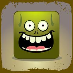 Zombi person icon. Halloween vector illustration.