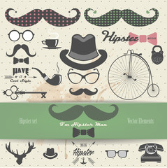 Hipster vector elements.