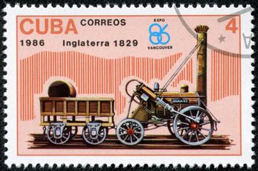 Stamp Shows Inglaterra Locomotive 1829
