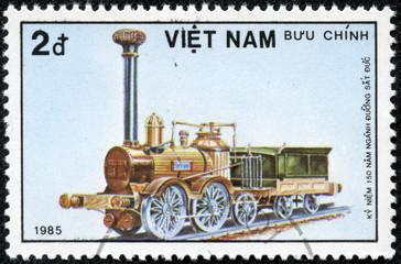 Stamp printed in Afghanistan shows engine